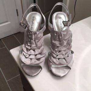 Silver ruffled heels